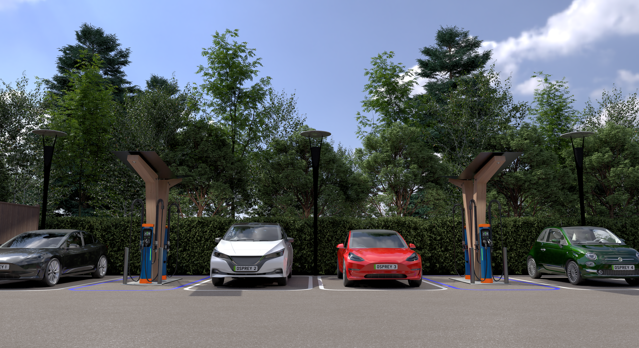 Image of an Osprey rapid charging hub with Kempower units