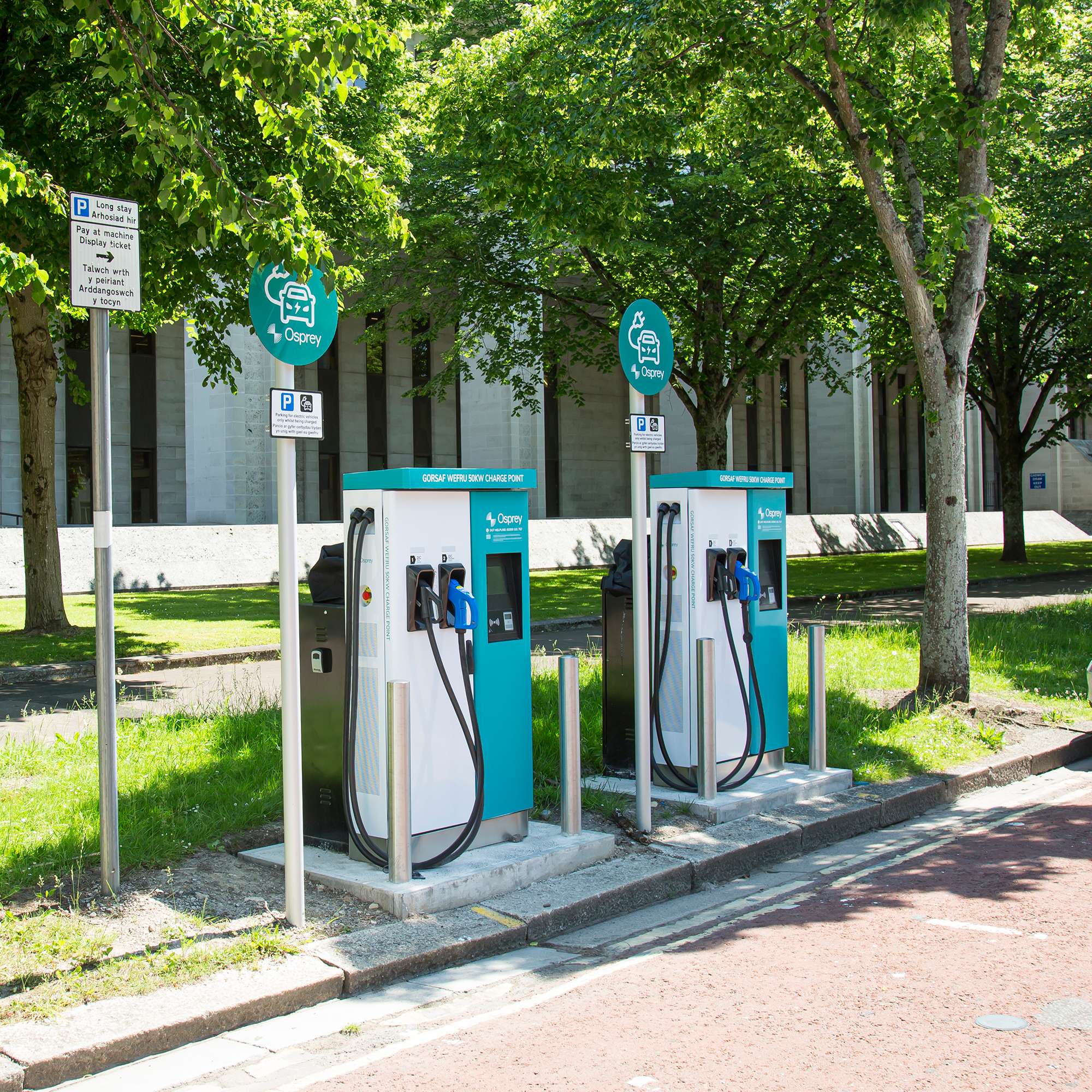 Pair of Osprey Rapid 50kW chargepoints in Cardiff City